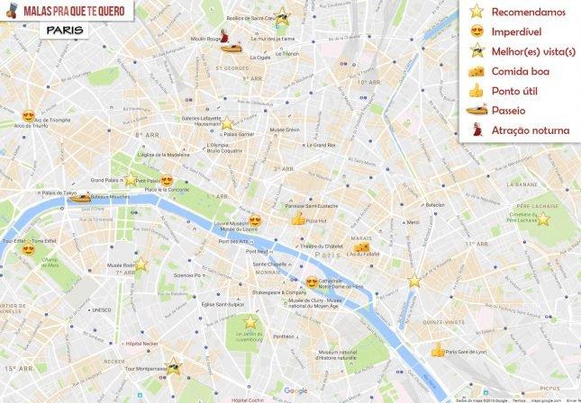 Mapa roteiro de 1 dia em Paris