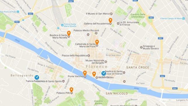 Mapa roteiro Florença, Itália